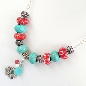 Sand Dollar Necklace, Turquoise and Red